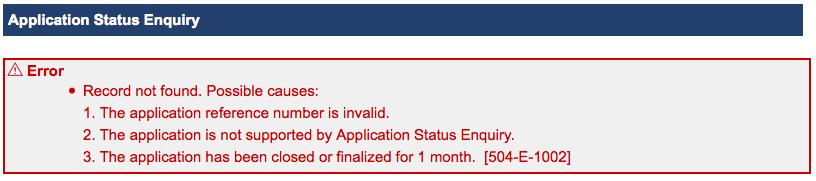 HK Visa Online Application Status Enquiry – Invalid